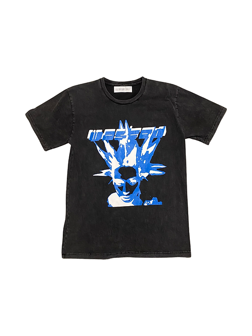 Black blue and white tee