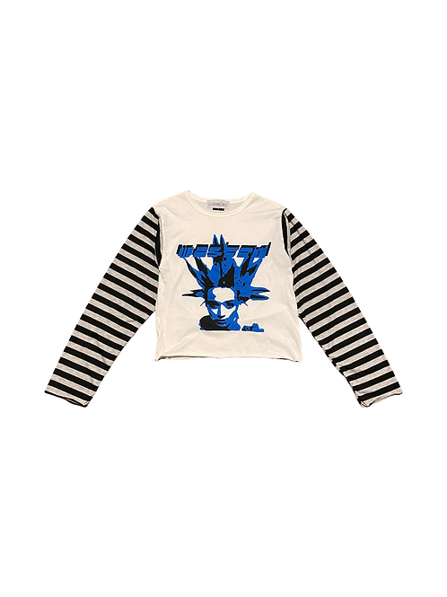 White blue and black striped long sleeve