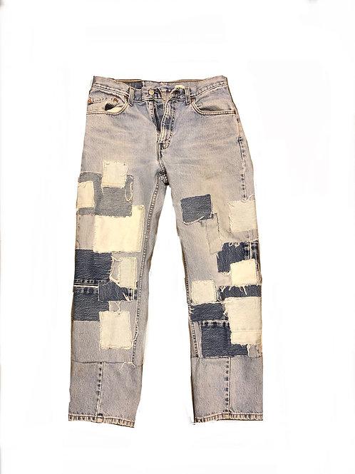 Patchwork blue jeans