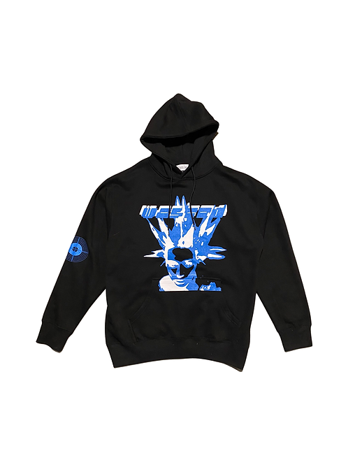Black blue and white hoodie