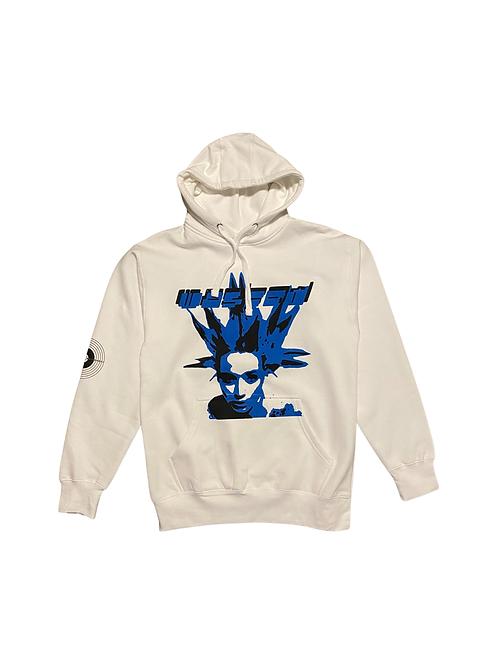 White blue and black hoodie