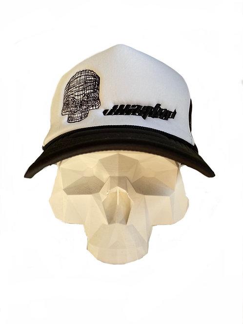 White and black skull trucker