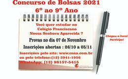 Concurso de bolsas 2021- Fundamental II - 6º ao 9º Ano (Clique na Imagem)
