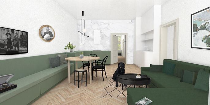 Obývací pokoj s kuchyní ANNY architects