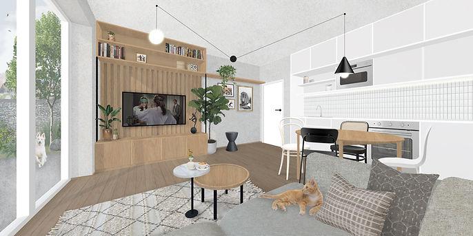 Obývák s kuchyní - byt Brno