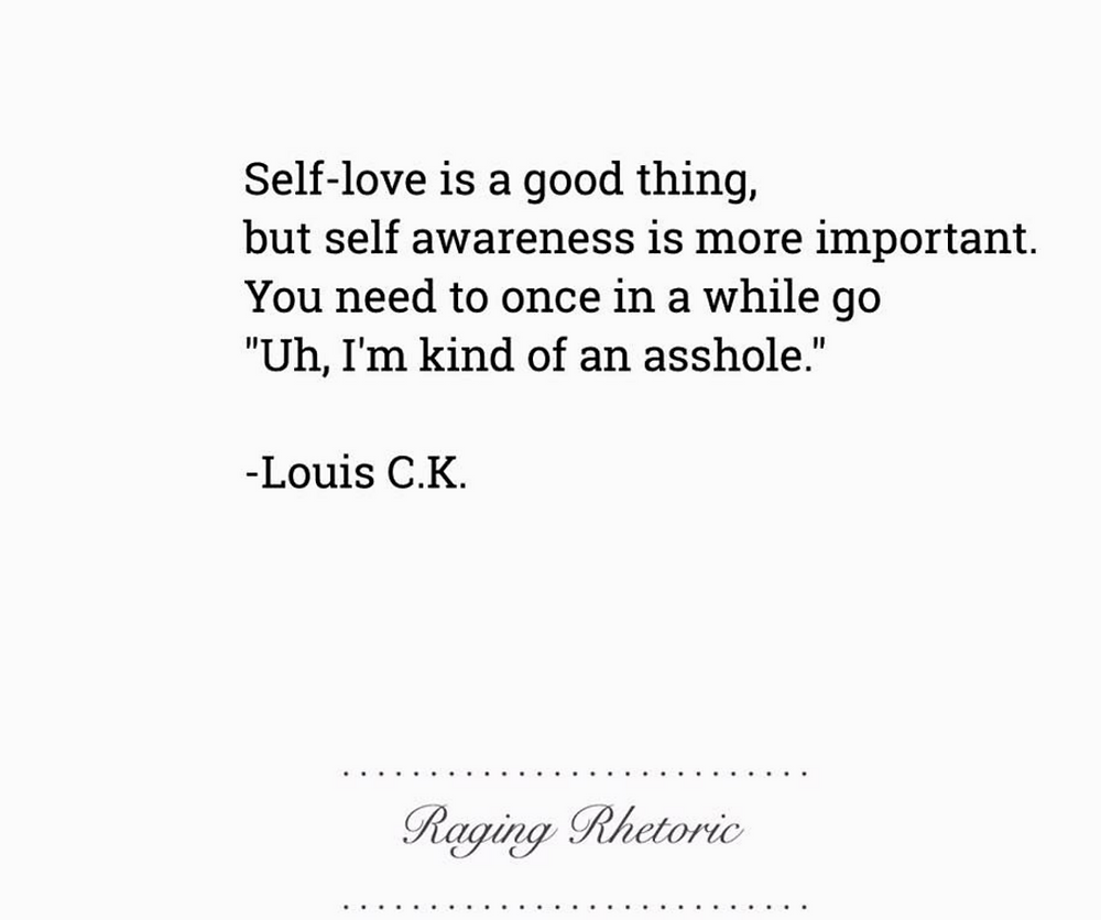 "Quote: Self-love is a good thing, but self awareness is more important. You need to once in a while go ""Uh, I'm kind of an asshole"""
