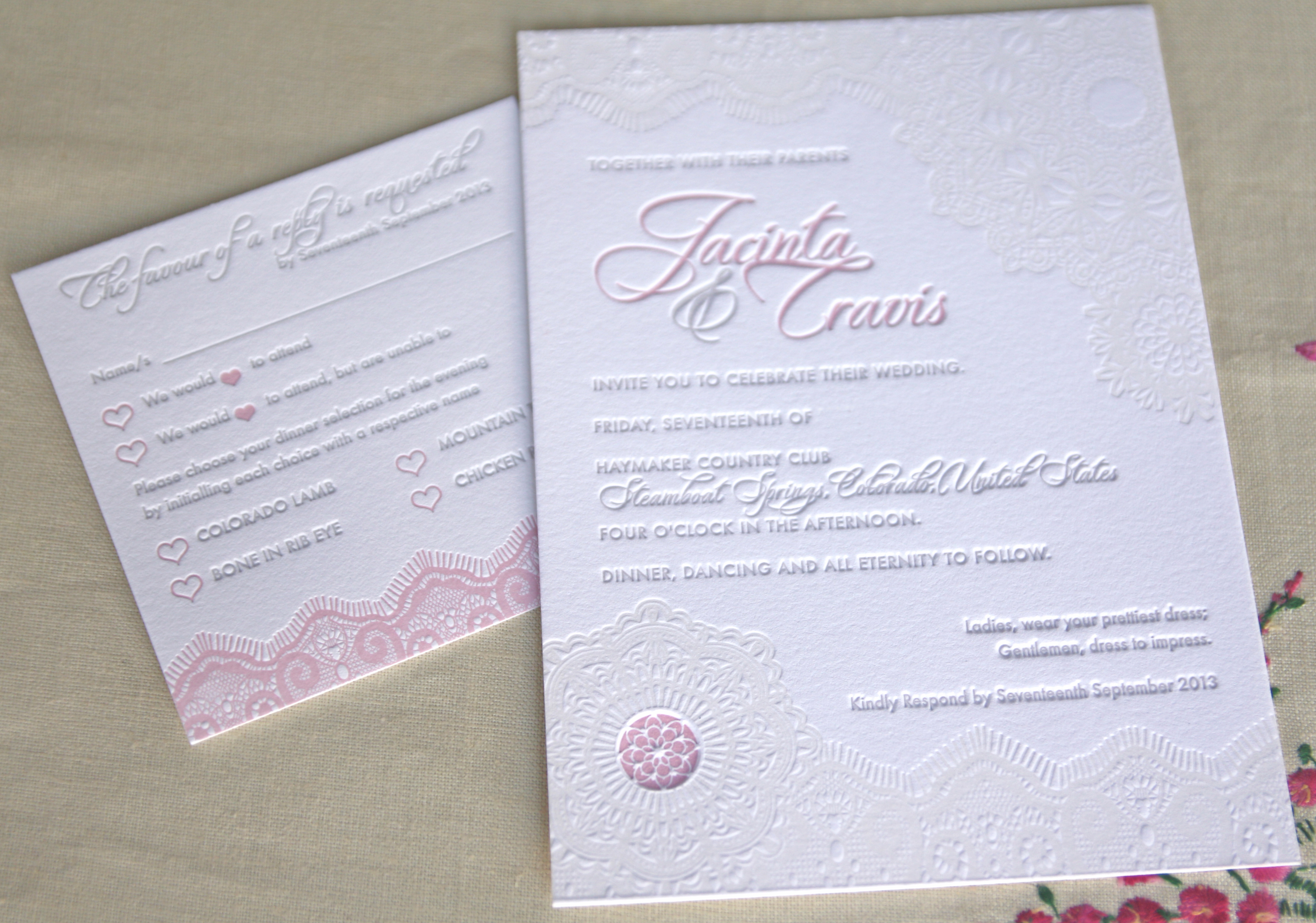 Lace doily letterpress invitation