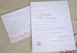 Lace doily letterpress invitation
