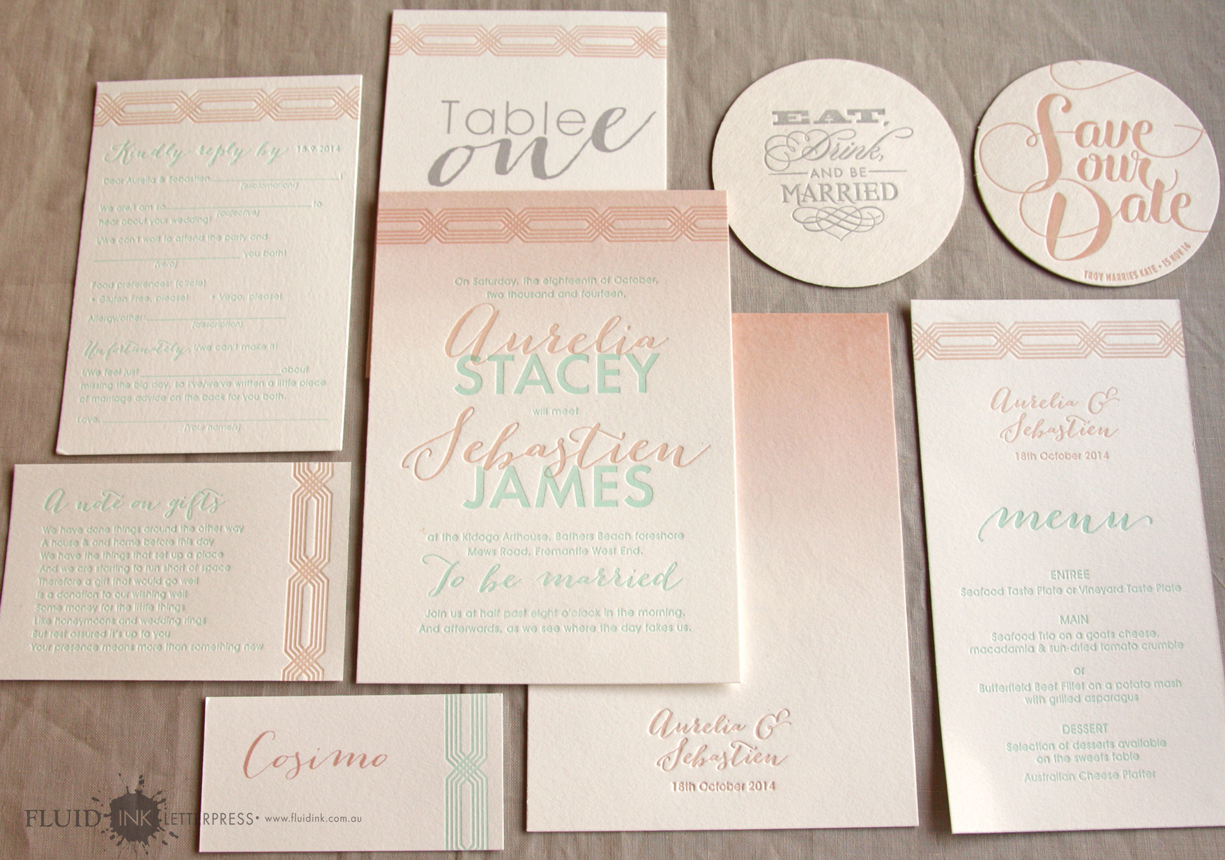 Coastal letterpress invitation suite