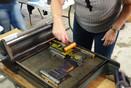 Letterpress workshop Perth - inking up type