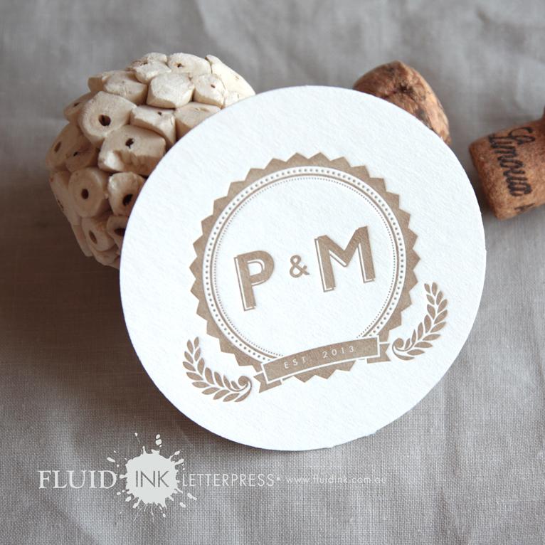 Monogram round wedding invitation