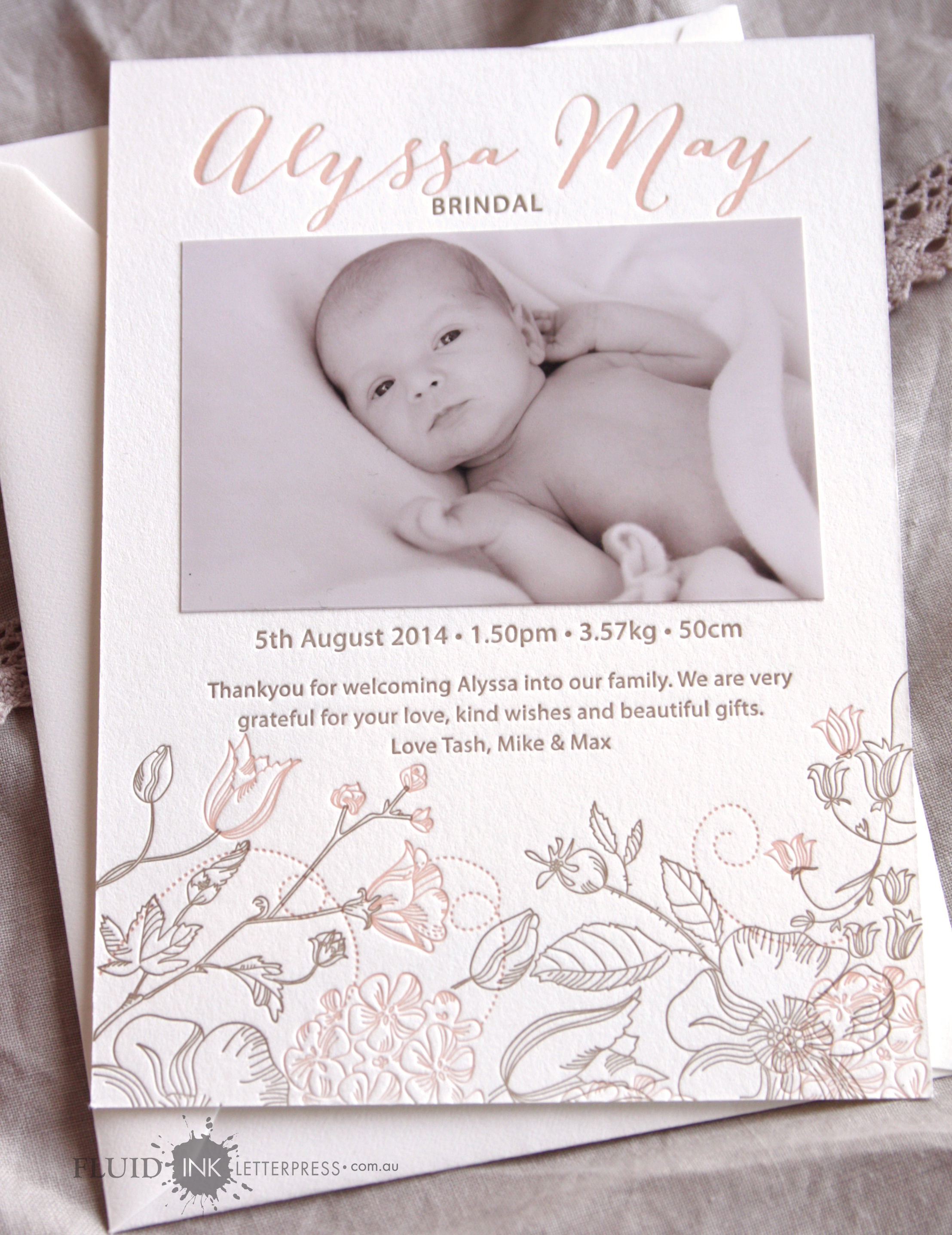 Letterpress photo birth announcement