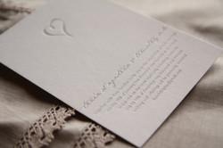 Simple silver heart invitation