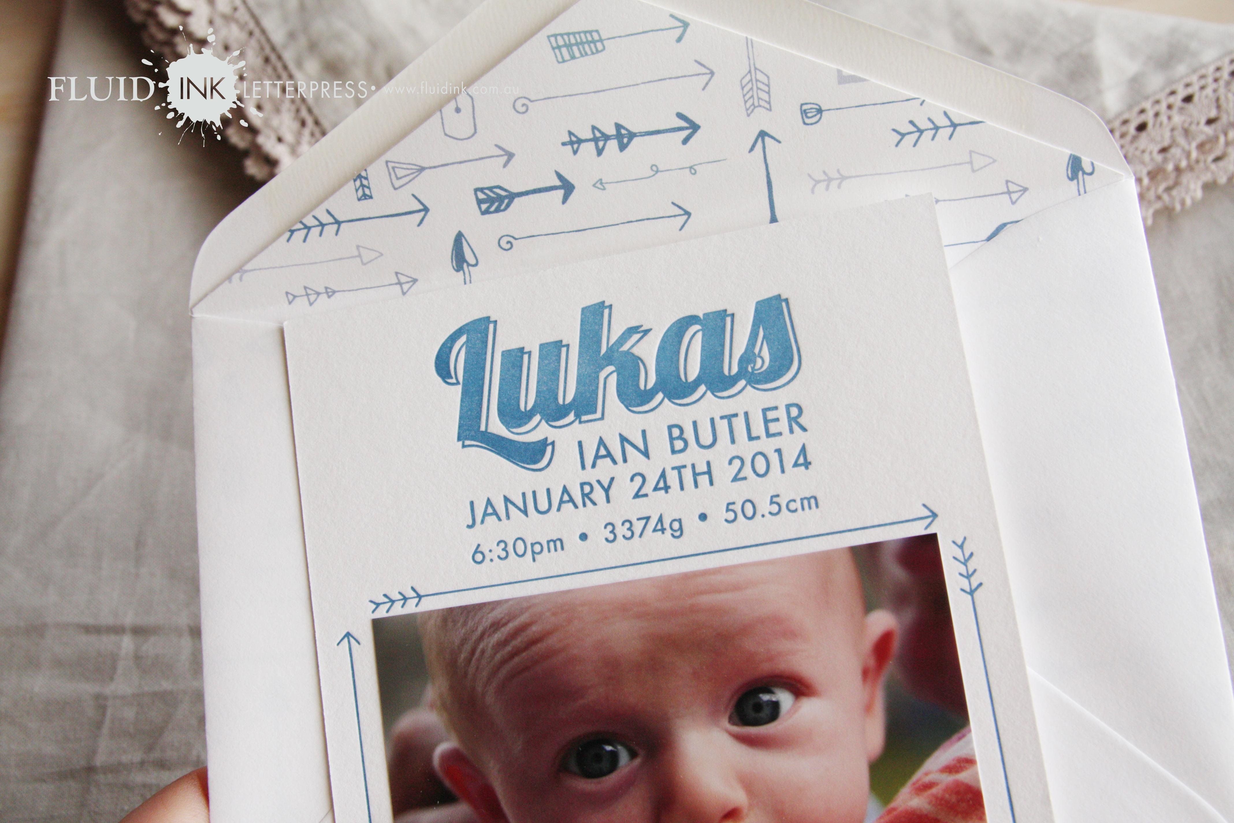 New baby boy letterpress photo card