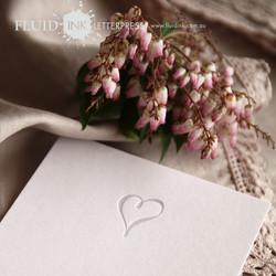 silver heart wedding invitation