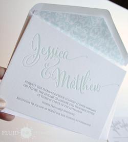 script letterpress invitation