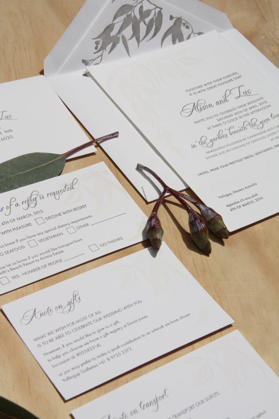 Gum leaf letterpress invitation