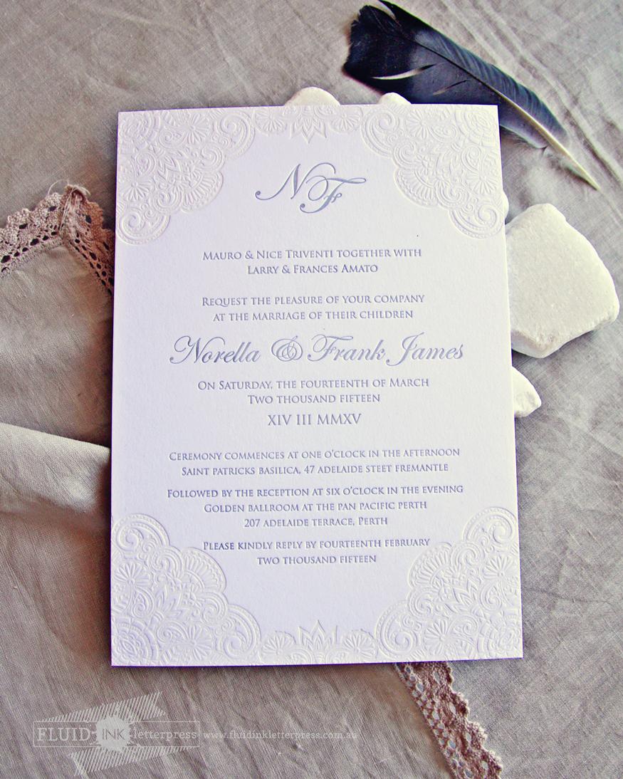 Vintage lace letterpress invitation