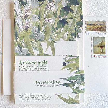 Exclusive quality handmade letterpress wedding invitations for Australian brides. Australian made on a vintage press