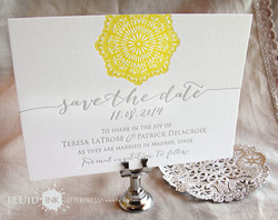 Modern doily in yellow and grey