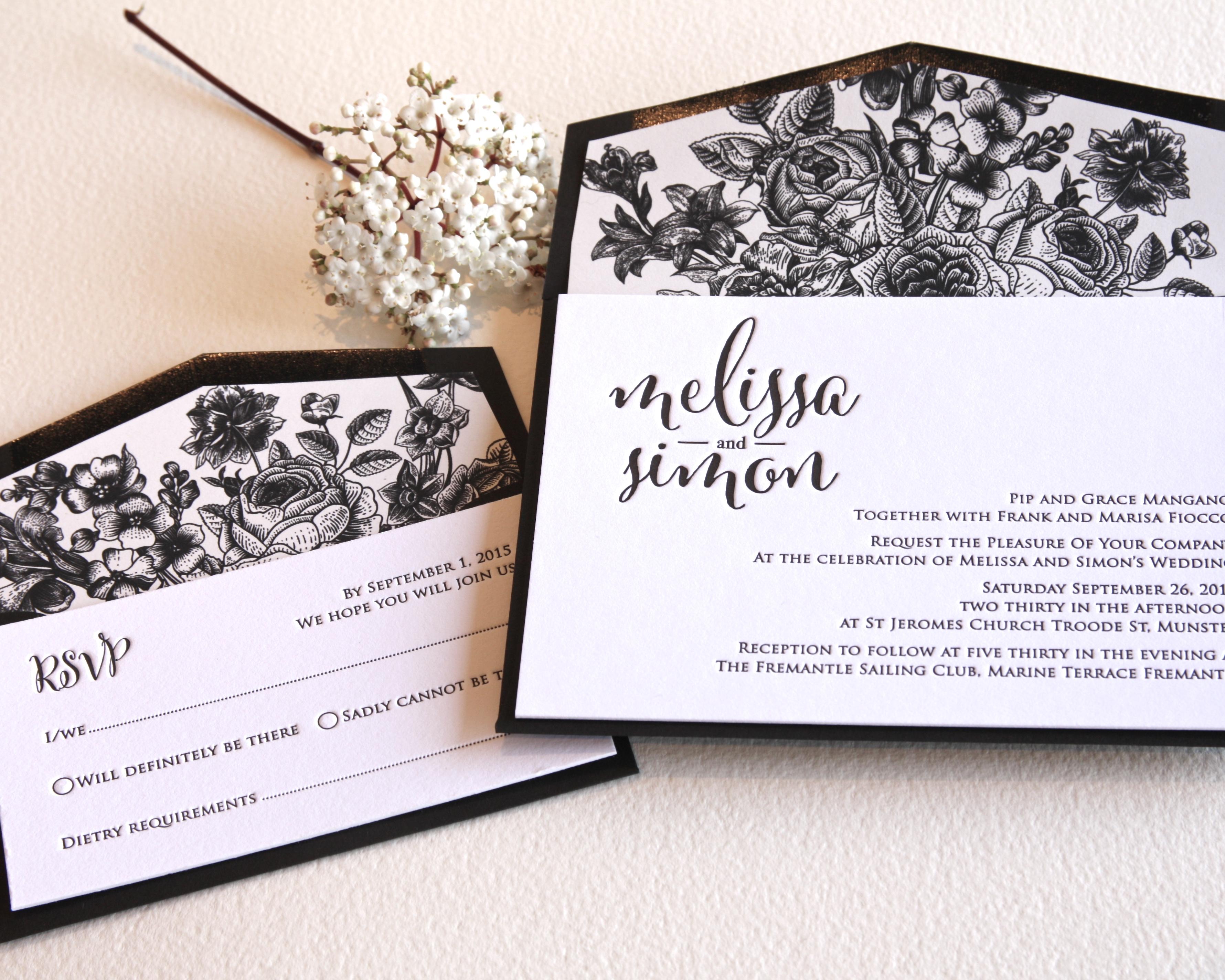 monochrome letterpress wedding