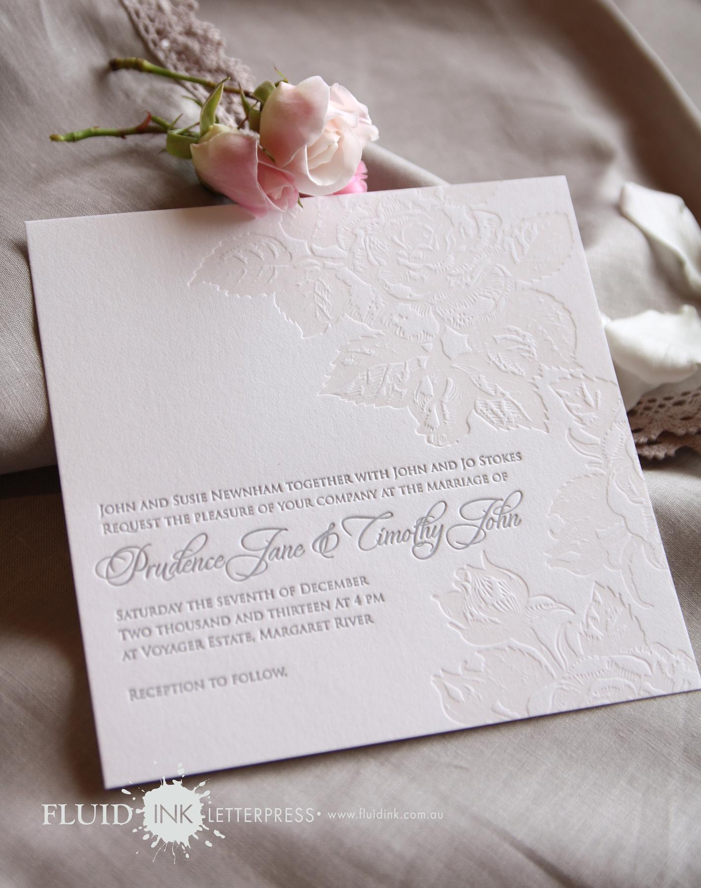 Rose Garden Letterpress invitation 1