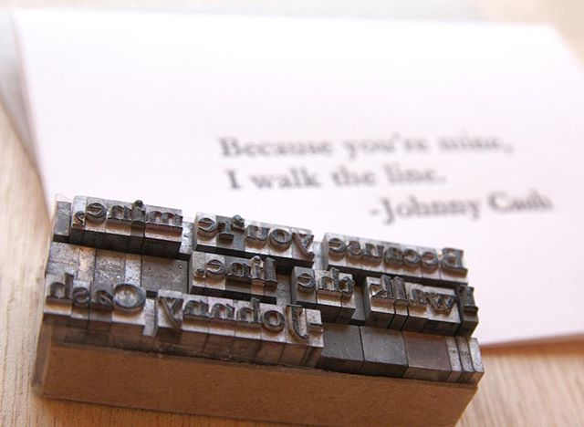 Vintage type was used to print this card. Johnny Cash, Valentine's Day card, 'Because you're mine, I walk the line'