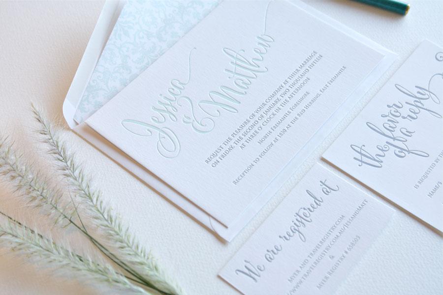 Large mint letterpress invitation