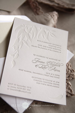 Gum leaf letterpress invitation