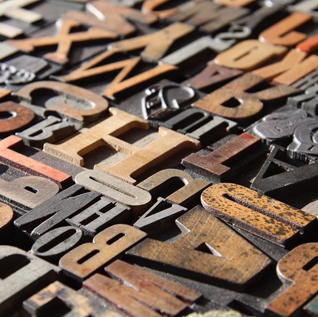 My small-ish collection of vintage wood type. I could stare at it all day