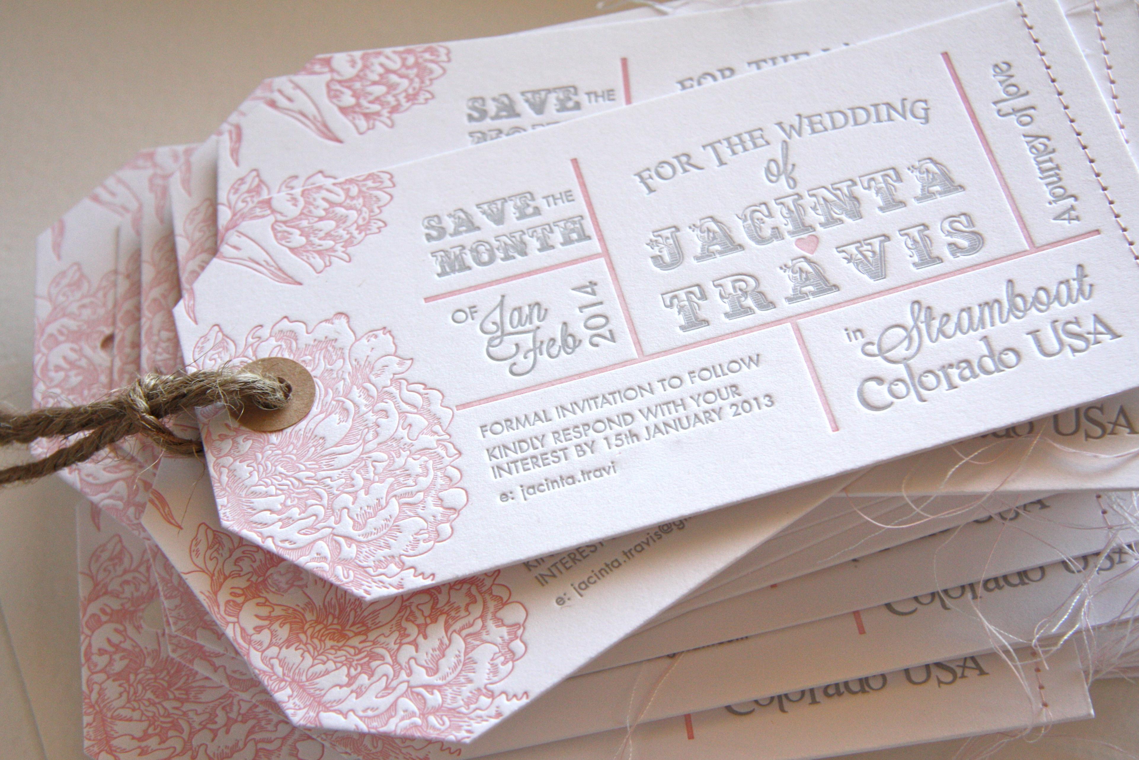 Letterpress luggage tage invitation