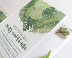 Palm leaf wedding invitation suite