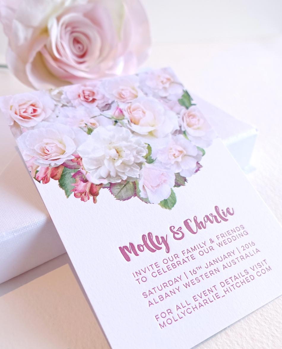 Elegant pink rose invitation
