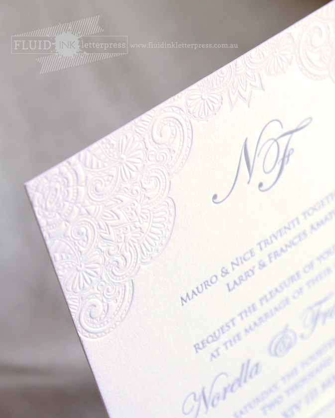 lace letterpress wedding invitation
