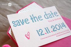Blue and pink polkadot save the date