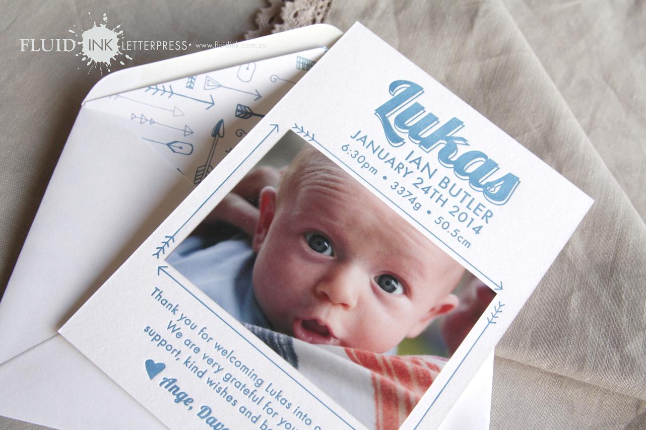 Baby birth announcement letterpress