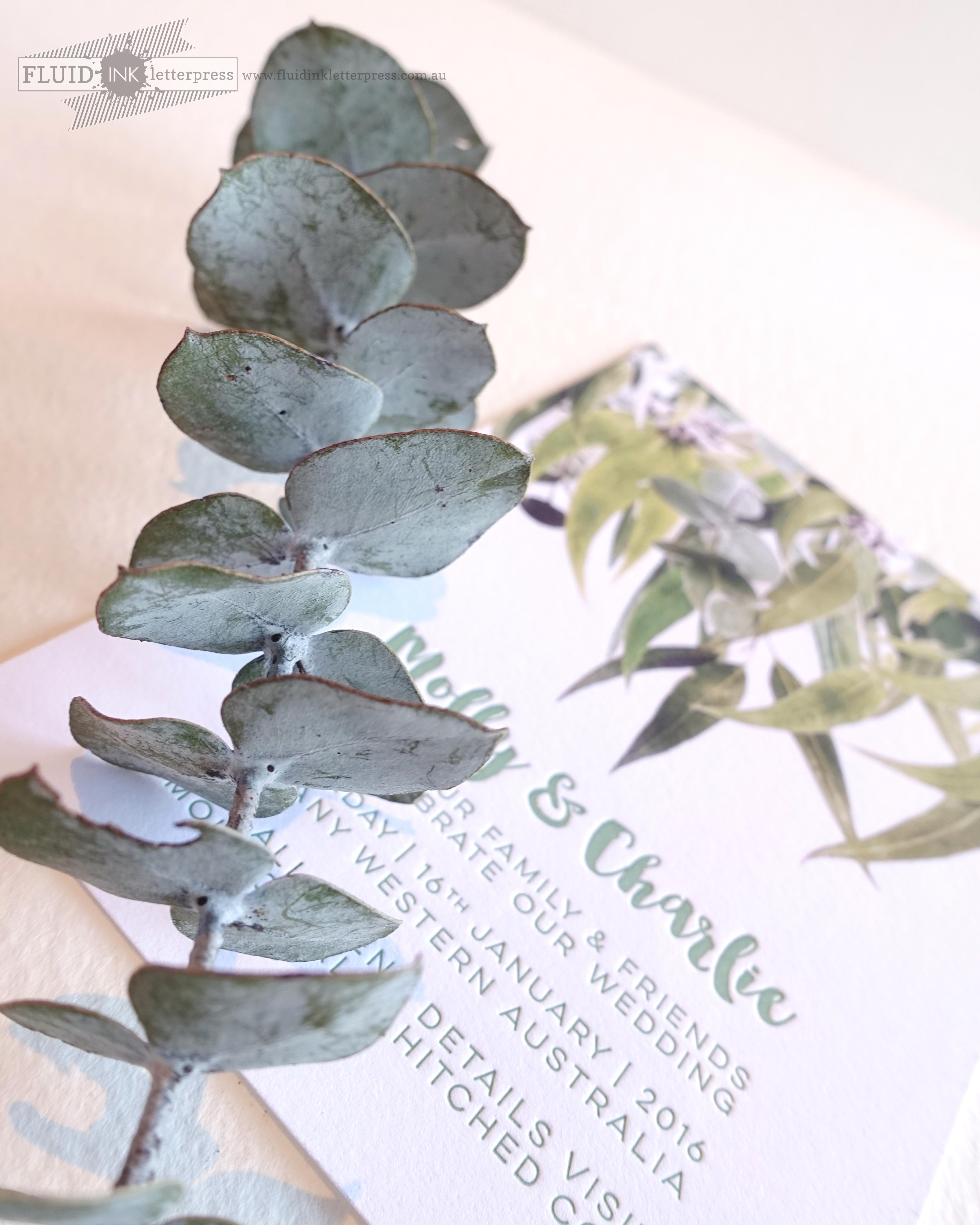 letterpress gum leaf invitation