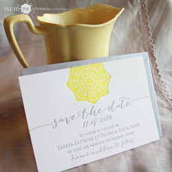 yellow grey doily save the date