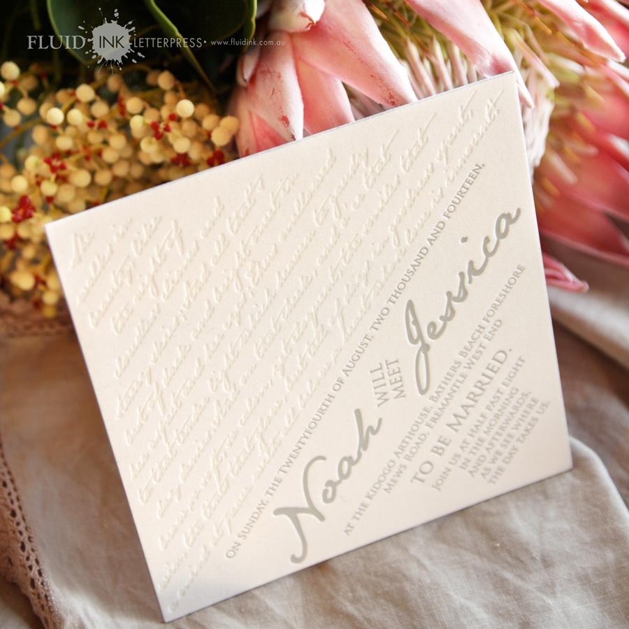 letterpress wedding invitation silve