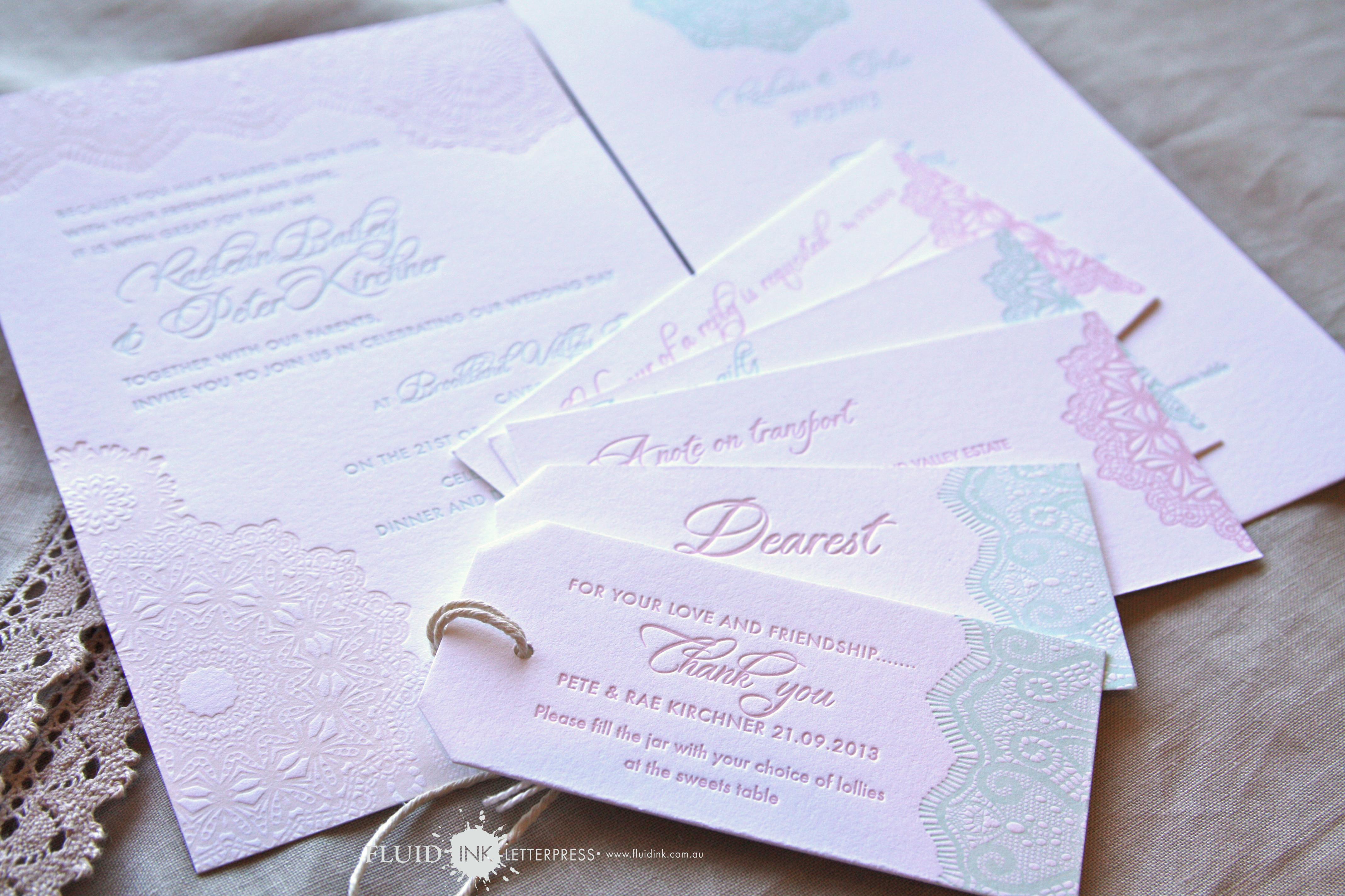 Pastel doily lace letterpress
