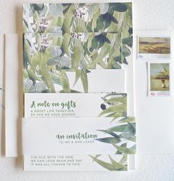 Gum leaf wedding invitation suite