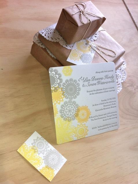 Yellow and grey wedding invitation