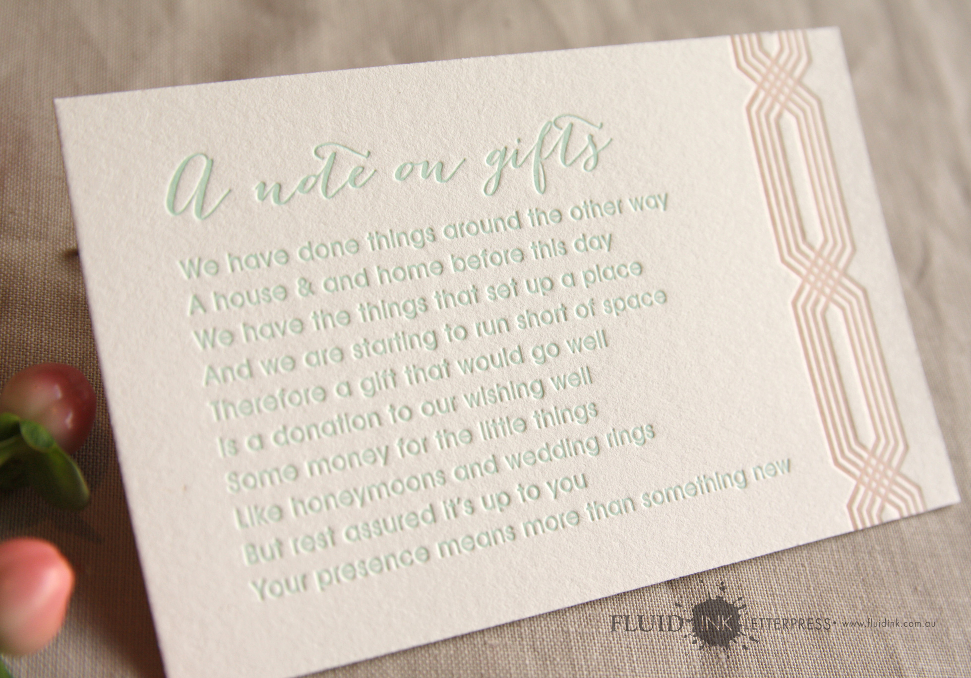 Peach and mint letterpress wishing