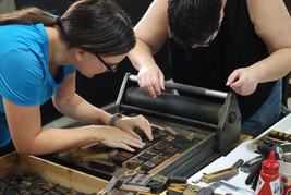 Letterpress workshop Perth locking up type