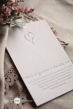 silver heart letterpress invite
