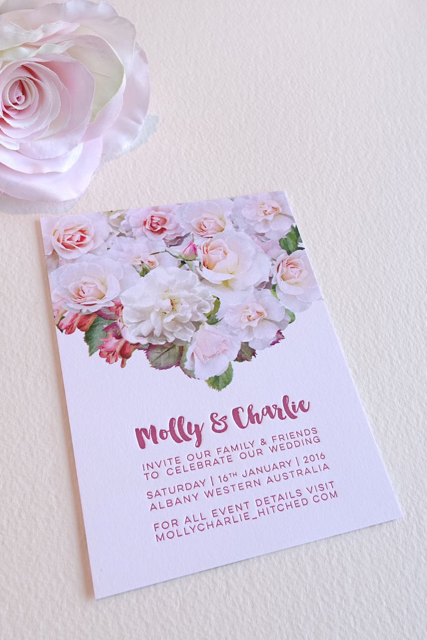 Elegant rose letterpress invitation