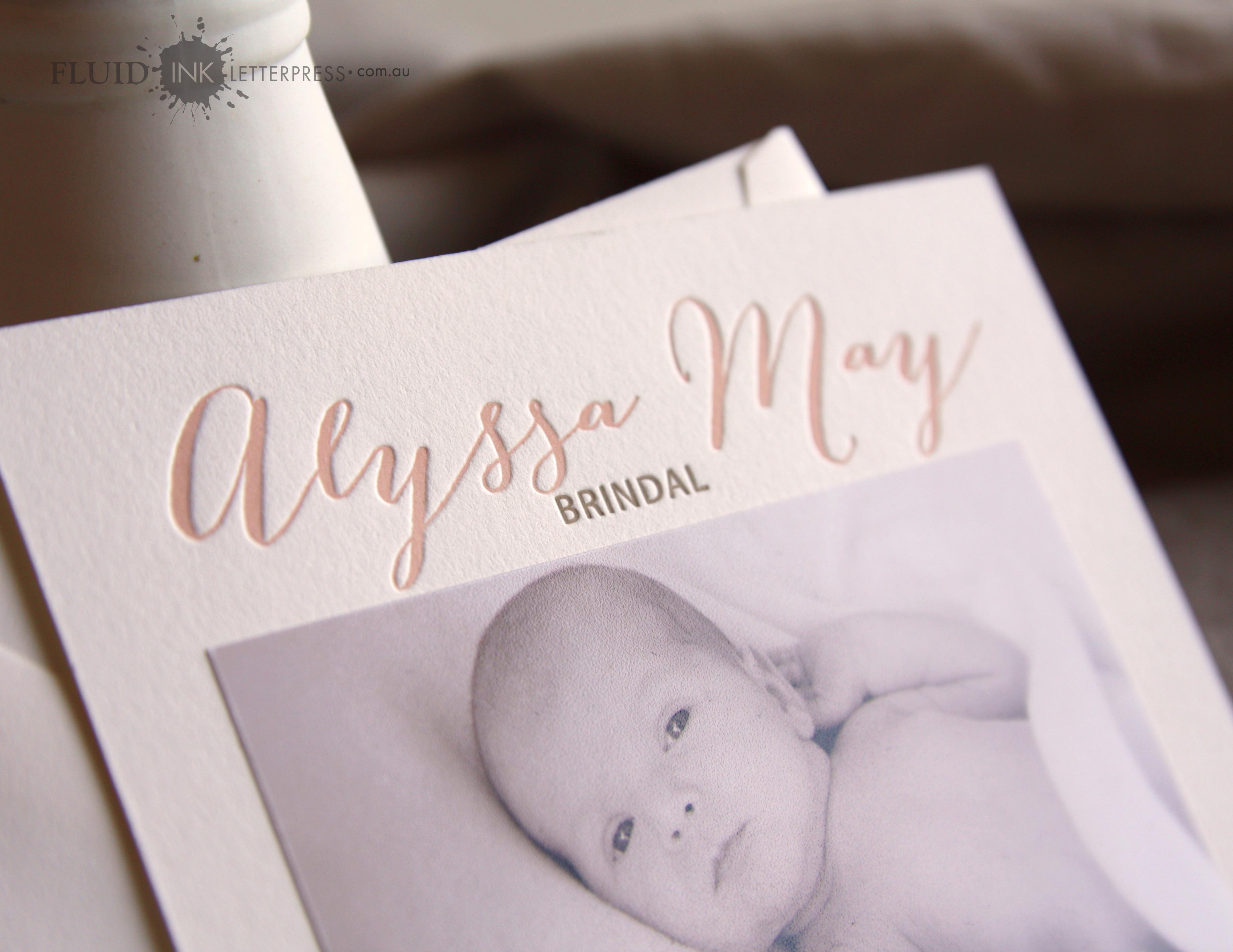 Letterpress birth announcement