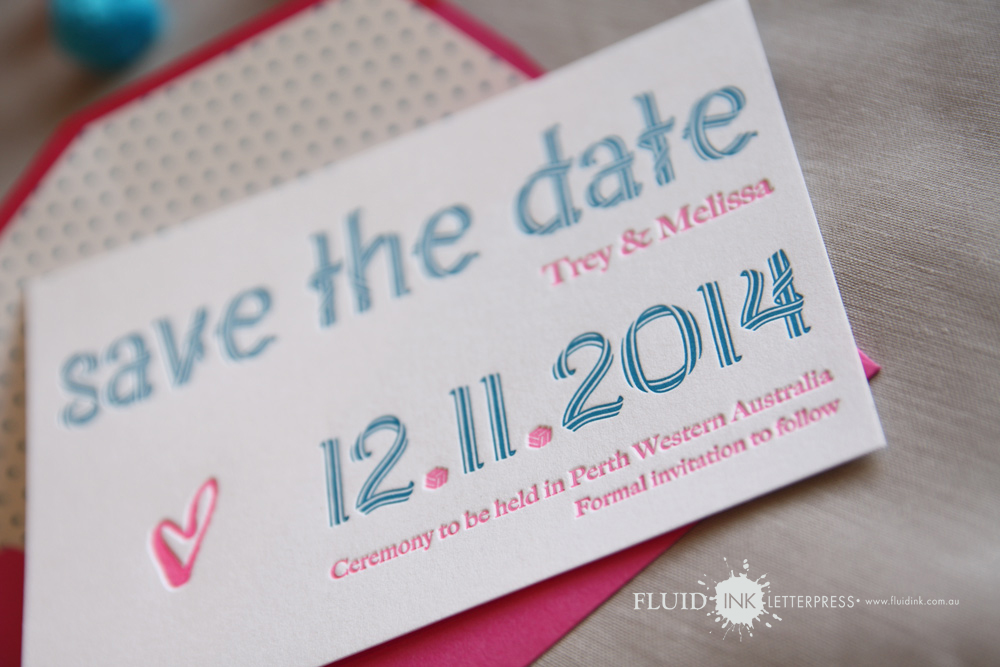 Bue & pink polka dot save the date