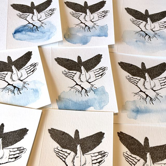 A little indulgent flight. Hand painted water colour shadow puppet illustration cards. ...