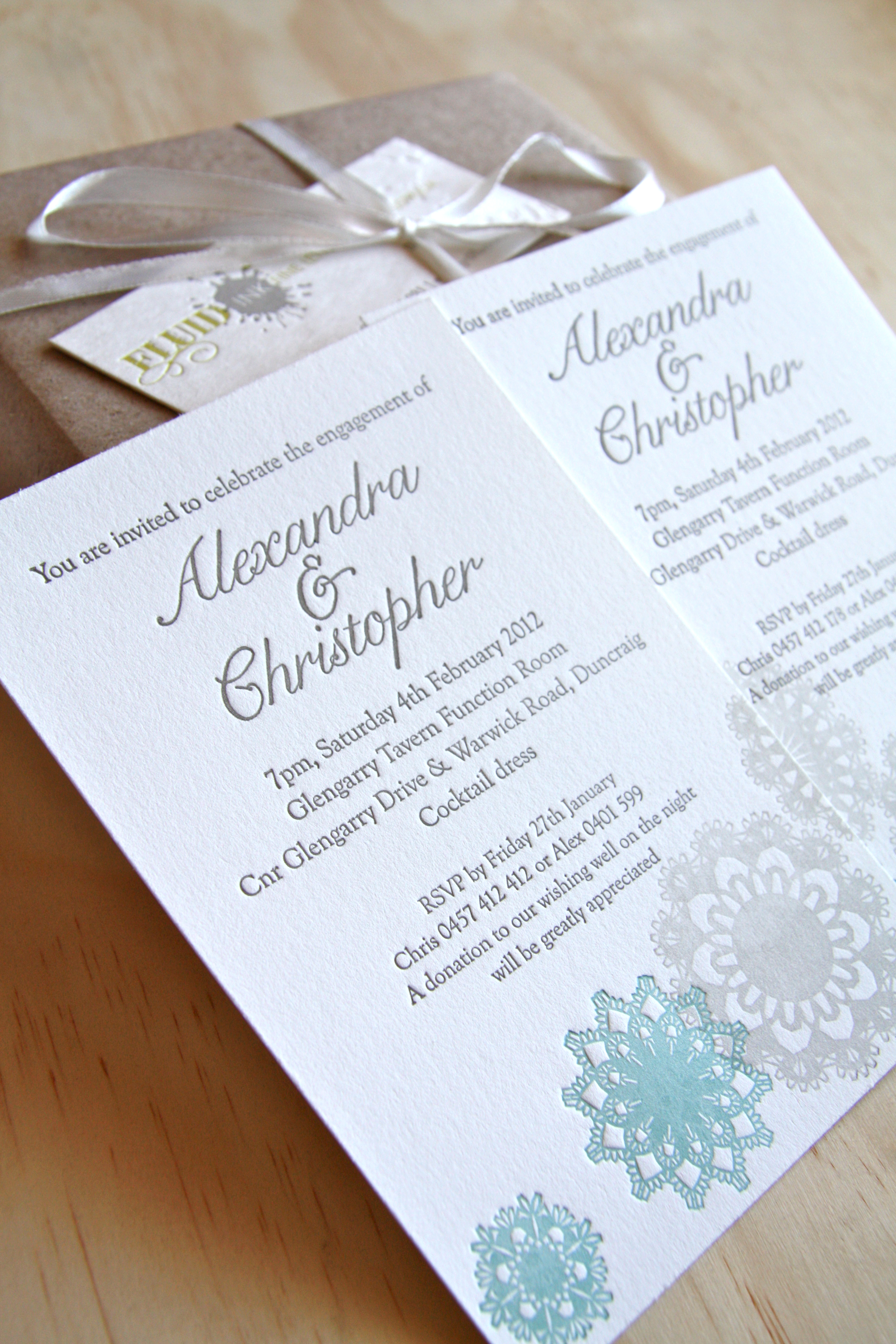 letterpress engagement invitation